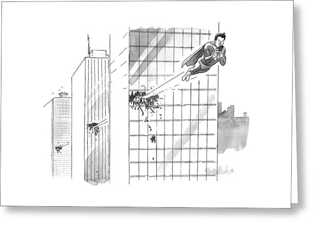 Superman Flies Through Several Building Greeting Card