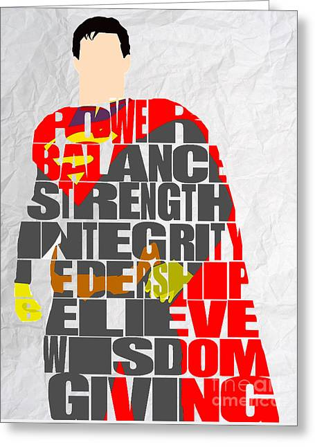 Superman Inspirational Power And Strength Through Words Greeting Card by Marvin Blaine