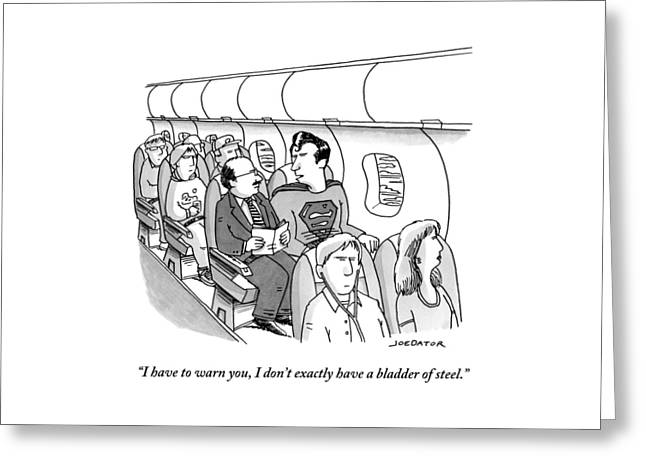 Superman Sits In A Plane Next To A Businessman Greeting Card