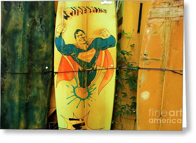 Superman Surfboard Greeting Card