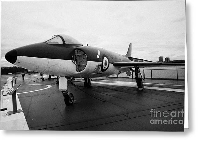 Supermarine F 1 F1 Scimitar On Display On The Flight Deck At The Intrepid Sea Air Space Museum  Greeting Card