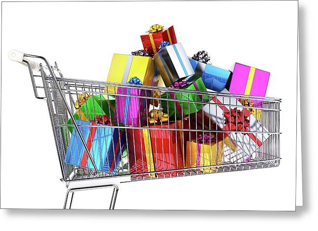 Supermarket Trolley Full Of Presents Greeting Card