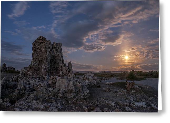 Supermoon At Mono Lake Greeting Card by Cat Connor