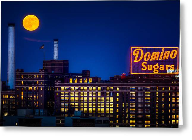 Supermoon Over Baltimore Greeting Card by Geoffrey Baker