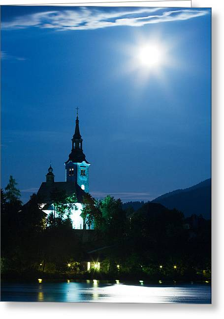 Supermoon Over Bled Island Church Greeting Card