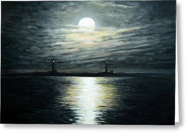 Supermoon Rising Over Thacher Island Greeting Card by Eileen Patten Oliver