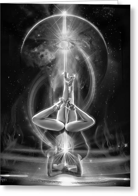 Supernova Twins With Moon Bw Greeting Card by Glenn Feron