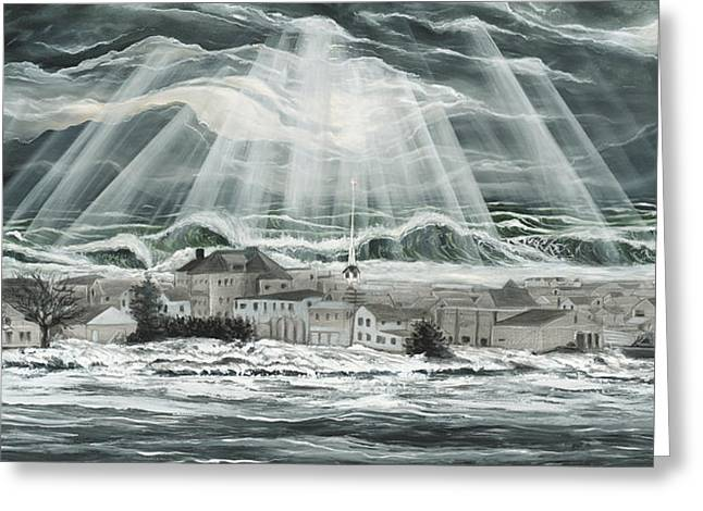 Superstorm Sandy Sea Bright Nj Greeting Card by Ronnie Jackson