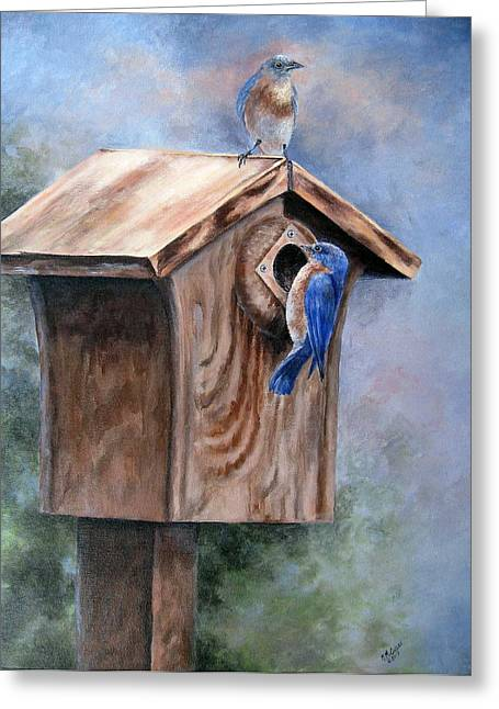 Greeting Card featuring the painting Supervised Feeding by Mary McCullah
