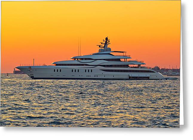 Superyacht On Yellow Sunset View Greeting Card