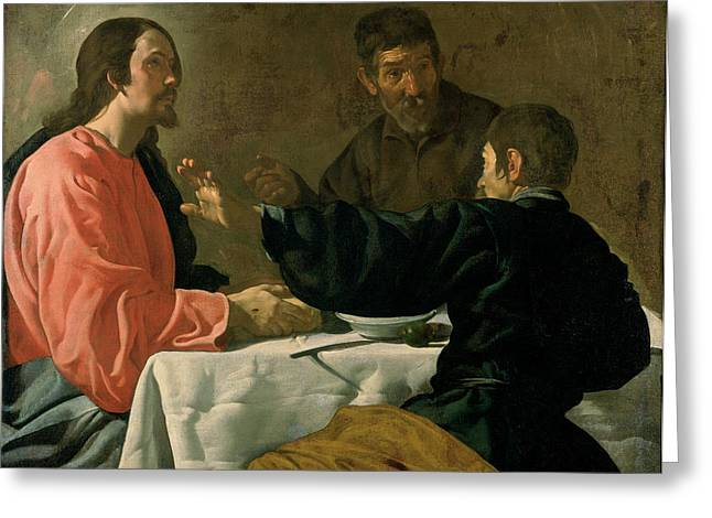Supper At Emmaus, 1620 Oil On Canvas Greeting Card
