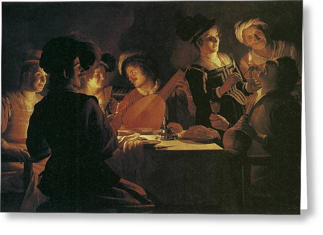 Supper Party With Lute Player Greeting Card