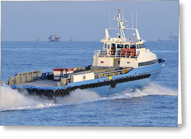Supply Vessel Heads To Sea Greeting Card