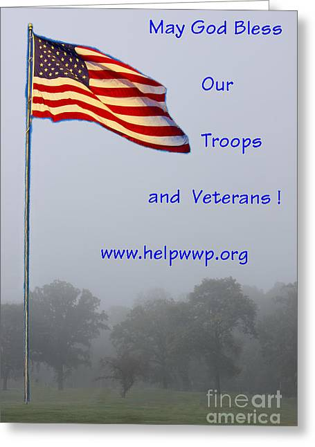 Support Our Troops And Veterans Greeting Card by Bill Woodstock