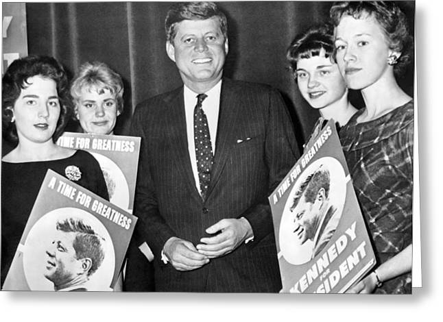 Supporters Greet Kennedy Greeting Card by Underwood Archives