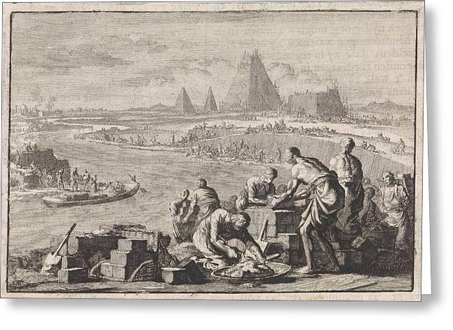 Suppression Of The Israelites In Egypt, Jan Luyken Greeting Card