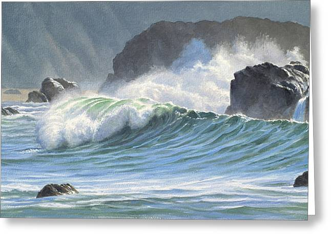 Surf And Rocks-harris Beach Greeting Card by Paul Krapf