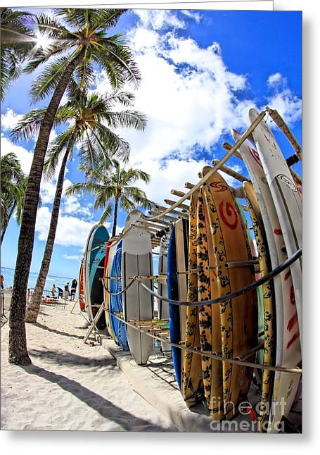 Surf And Sun Waikiki Greeting Card