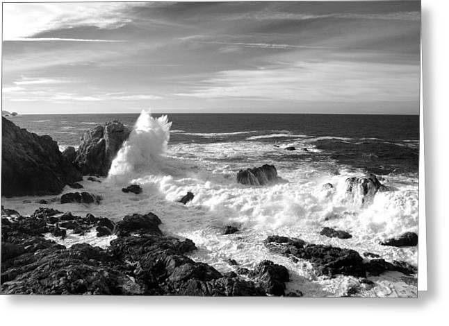 Surf At Cambria Greeting Card by Barbara Snyder