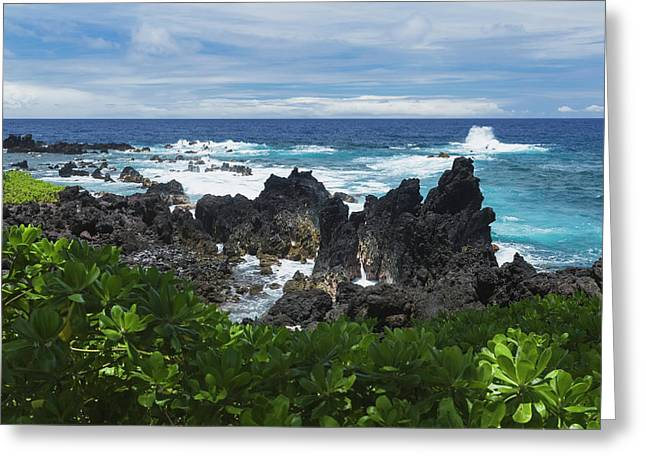 Surf At Lava Rock Shore In Laupahoehoe Greeting Card