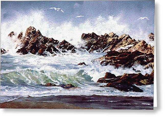 Greeting Card featuring the painting Surf At Lincoln City by Craig T Burgwardt