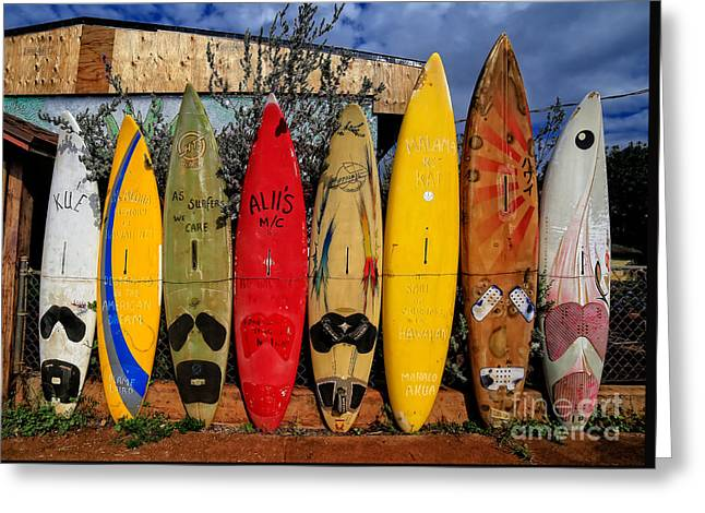 Surf Board Fence Maui Hawaii Greeting Card
