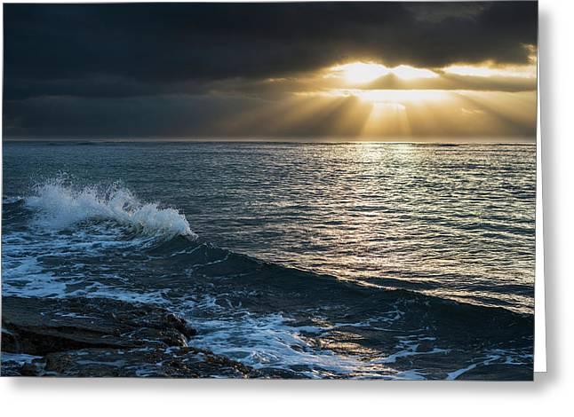 Surf Breaks At Sunrise  Wailua, Kauai Greeting Card