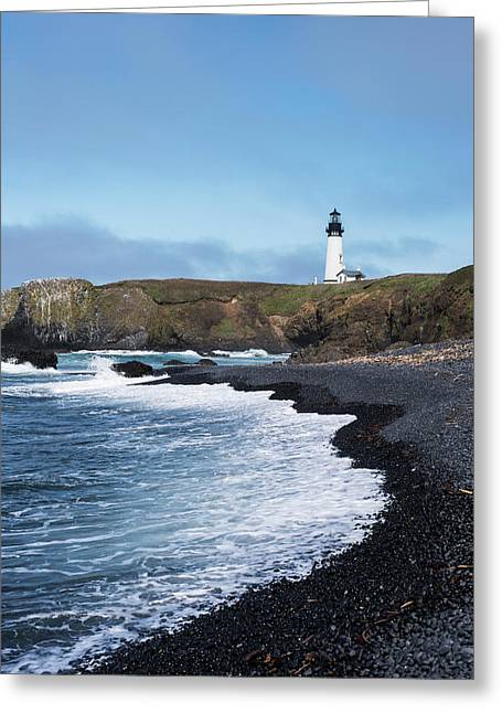 Surf Breaks On The Beach At Yaquina Greeting Card by Robert L. Potts
