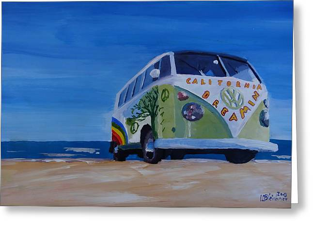 The Vw Volkswagen Bulli Series - The California Dreaming Surf Bus Greeting Card by M Bleichner