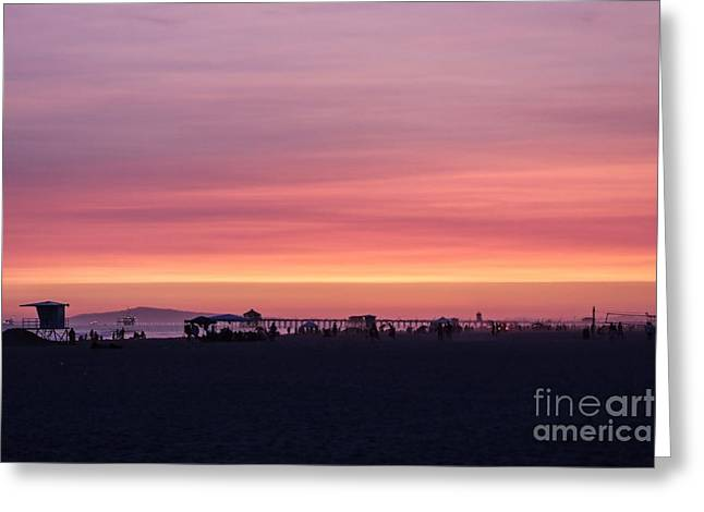 Surf City Sunset Greeting Card by Kevin Ashley