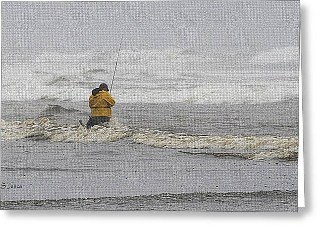 Surf Fishing Enthusiast Greeting Card by Tom Janca