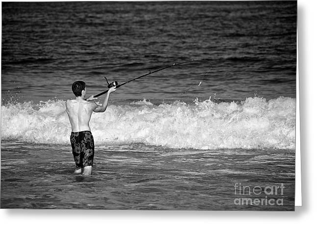 Surf Fishing Greeting Card by Mark Miller