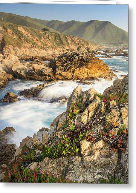 Surf On Rocks Garrapata State Beach Greeting Card by Tom Norring