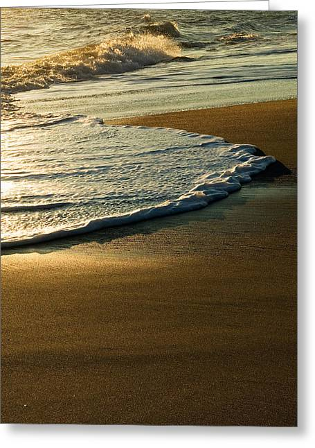 Surf On Sandy Beach, Sunrise Light Greeting Card by Panoramic Images