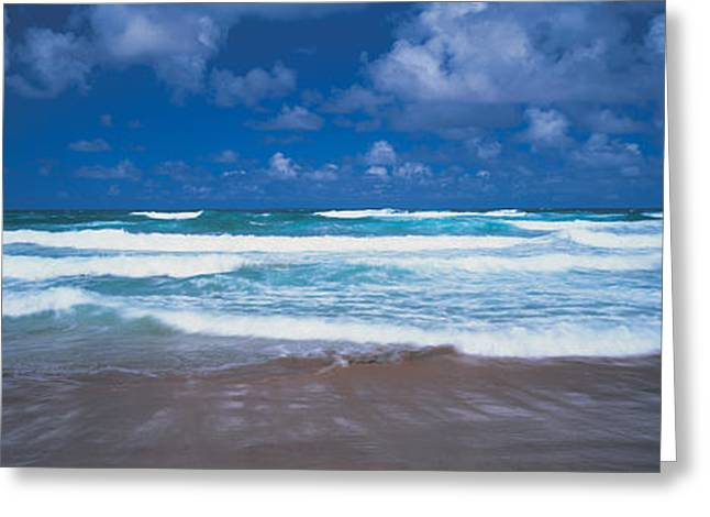 Surf On The Beach, Barbados, West Indies Greeting Card by Panoramic Images