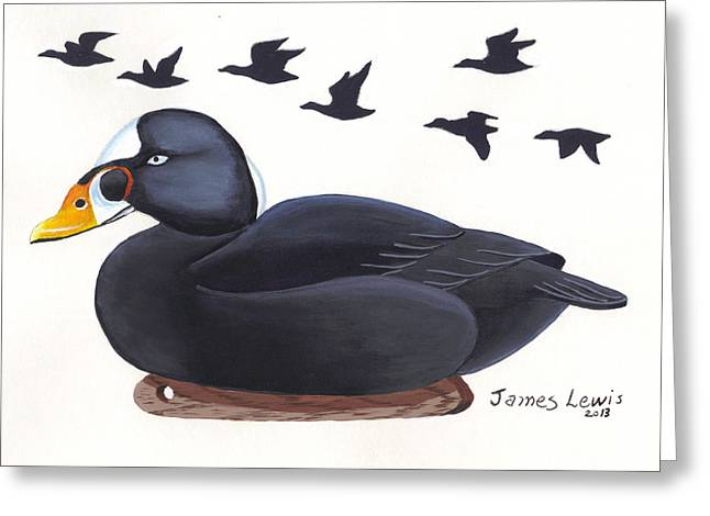 Surf Scoter Decoy  Greeting Card by James Lewis