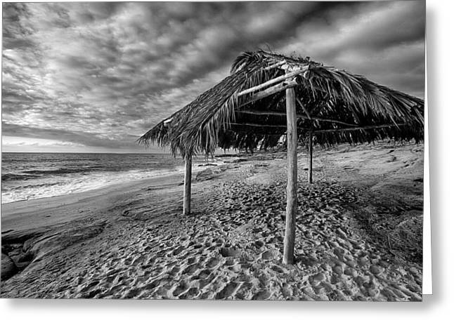 Surf Shack - Black And White Greeting Card