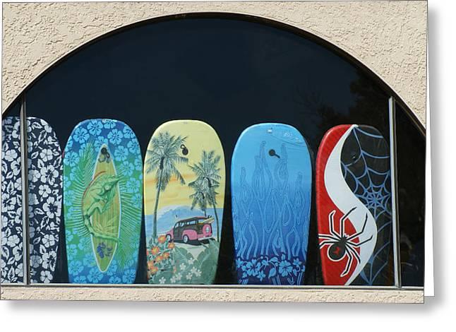 Surf Shop Window Greeting Card by Ernie Echols