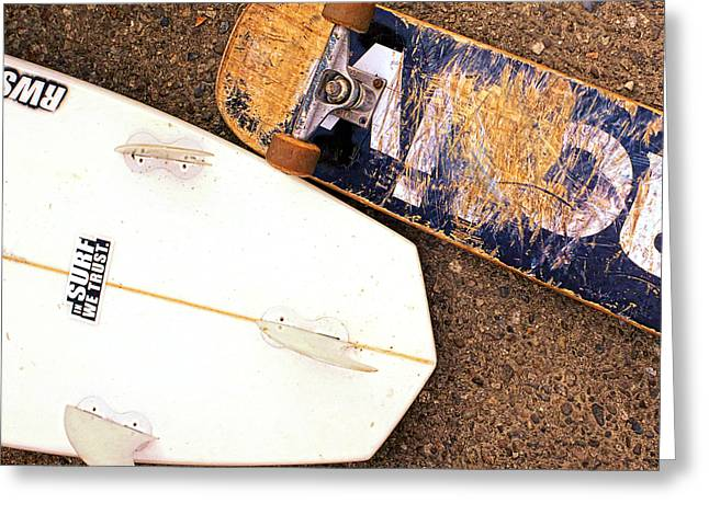 Surf Skate Fins And Wheels Greeting Card by Ron Regalado