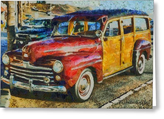Surf Wagon Greeting Card by Barbara Snyder