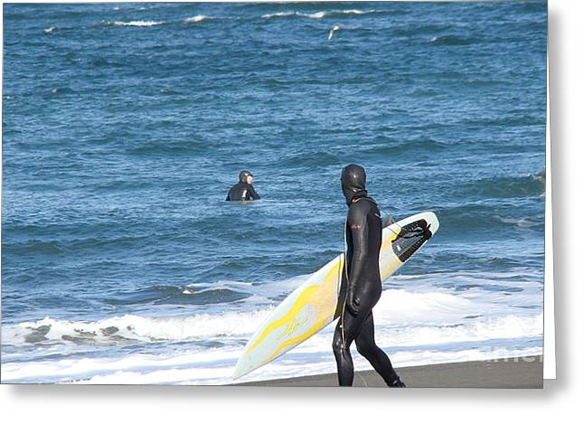Surf Waiting Greeting Card by Beverly Guilliams