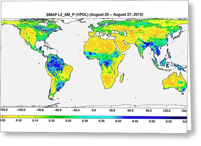 Surface Soil Moisture Greeting Card by Nasa/jpl-caltech/gsfc