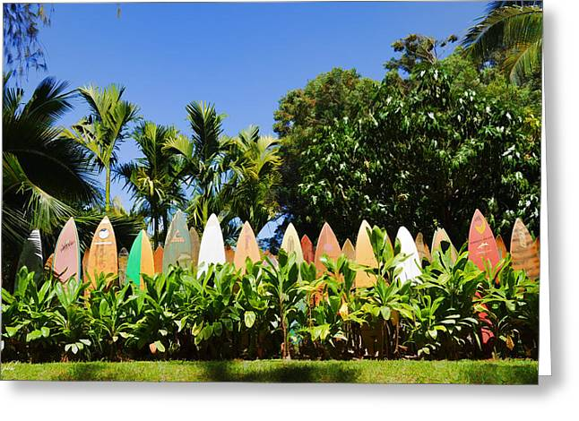Surfboard Fence - Left Side Greeting Card by Paulette B Wright
