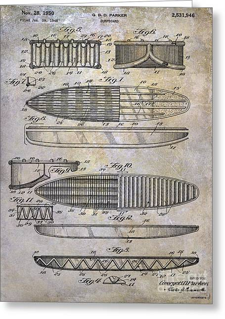 Surfboard Patent Drawing 1950 Greeting Card