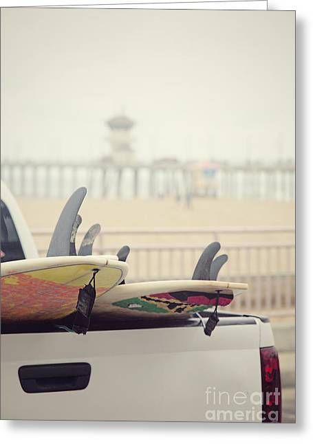 Surfboards In Back Of Truck Greeting Card