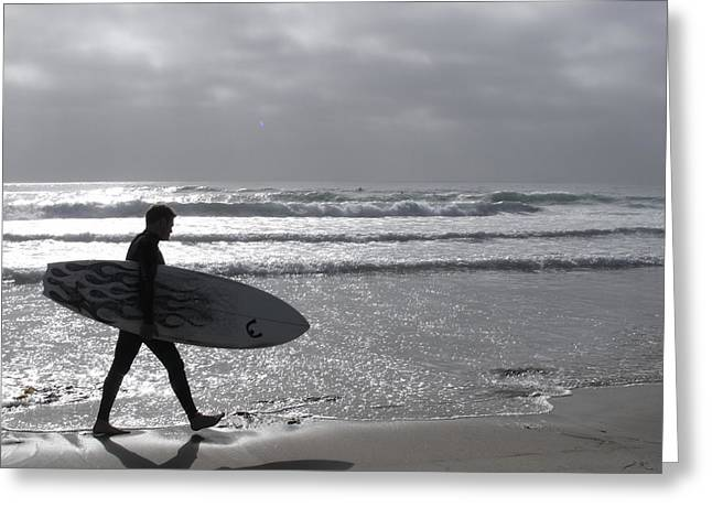 Surfer At Dusk Greeting Card