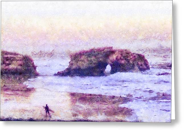 Surfer At Natural Bridges State Beach Greeting Card by Priya Ghose