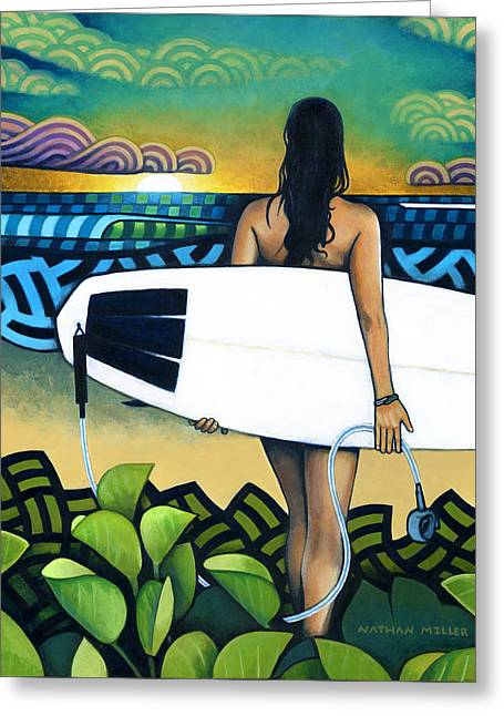 Surfer At Sunset Greeting Card by Nathan Miller