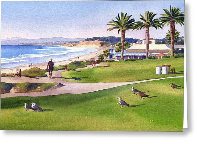 Surfer At Tres Palms Del Mar Greeting Card by Mary Helmreich