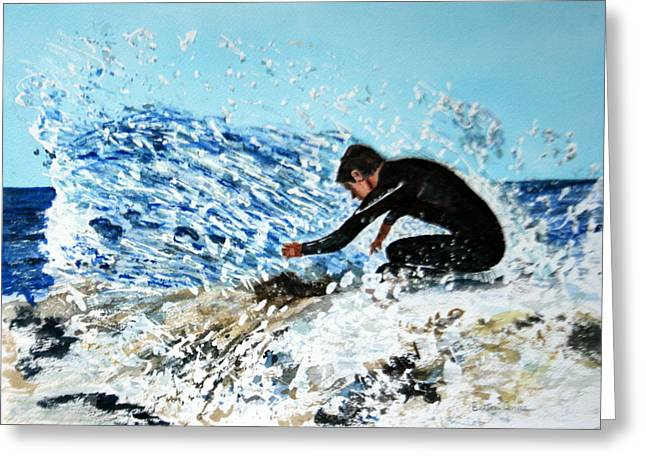 Surfer Greeting Card by Betty-Anne McDonald